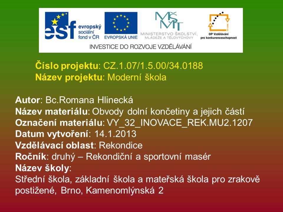 Číslo projektu: CZ.1.07/1.5.00/34.0188 Název projektu: Moderní škola. Autor: Bc.Romana Hlinecká.