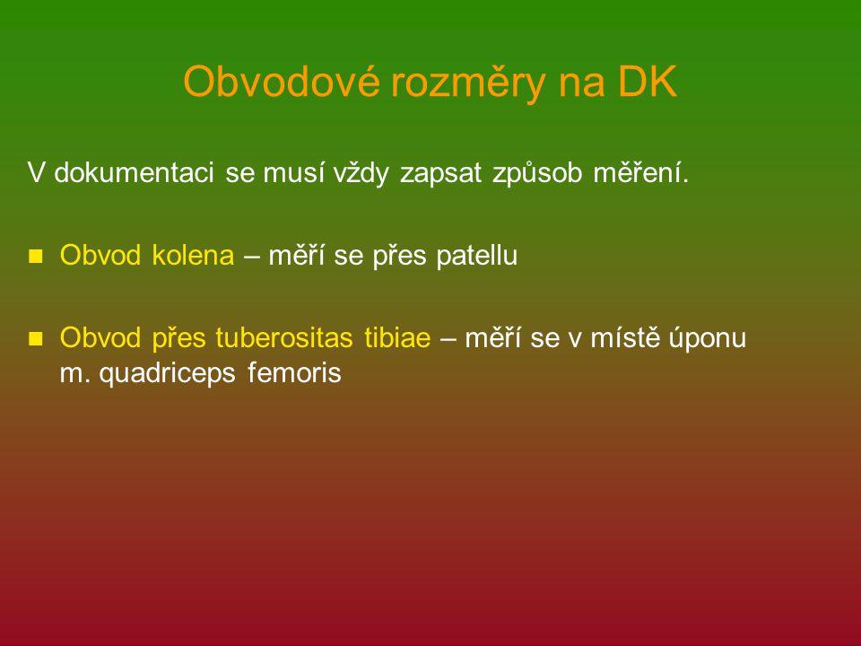 Obvodové rozměry na DK V dokumentaci se musí vždy zapsat způsob měření. Obvod kolena – měří se přes patellu.