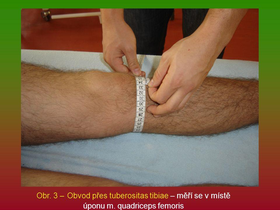 Obr. 3 – Obvod přes tuberositas tibiae – měří se v místě úponu m