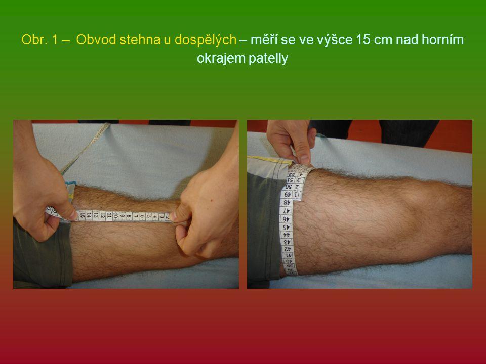 Obr. 1 – Obvod stehna u dospělých – měří se ve výšce 15 cm nad horním okrajem patelly