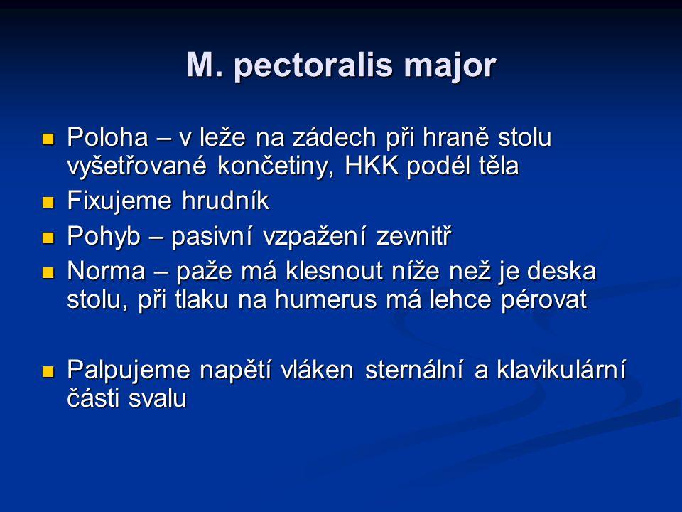 M. pectoralis major Poloha – v leže na zádech při hraně stolu vyšetřované končetiny, HKK podél těla.