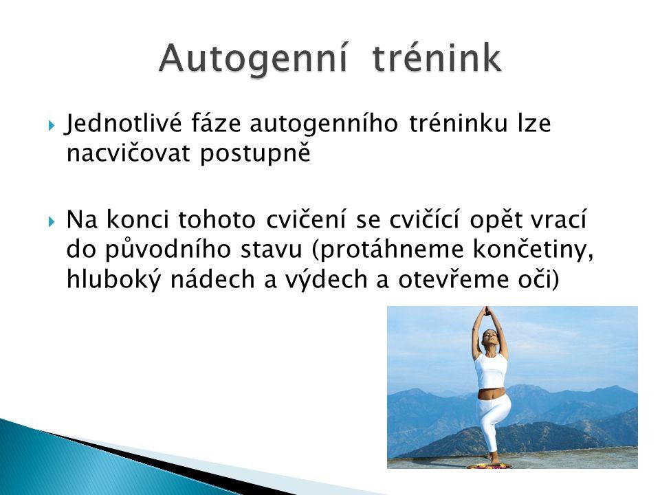 Autogenní trénink Jednotlivé fáze autogenního tréninku lze nacvičovat postupně.
