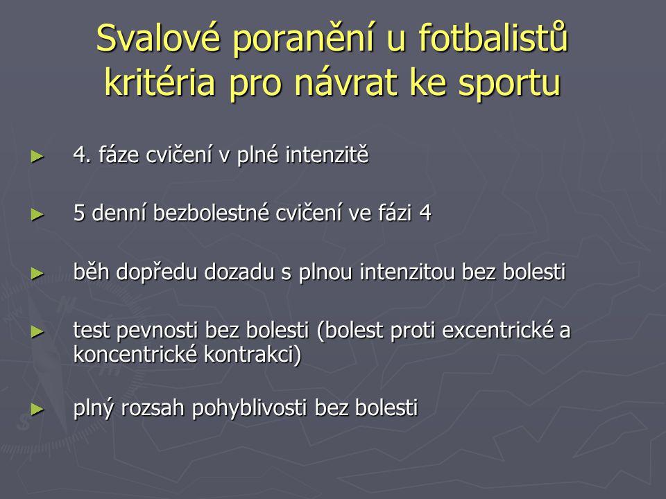 Svalové poranění u fotbalistů kritéria pro návrat ke sportu
