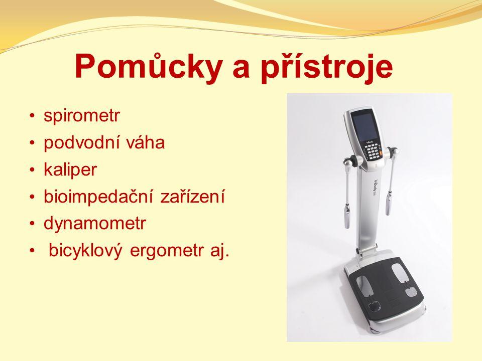 Pomůcky a přístroje spirometr podvodní váha kaliper