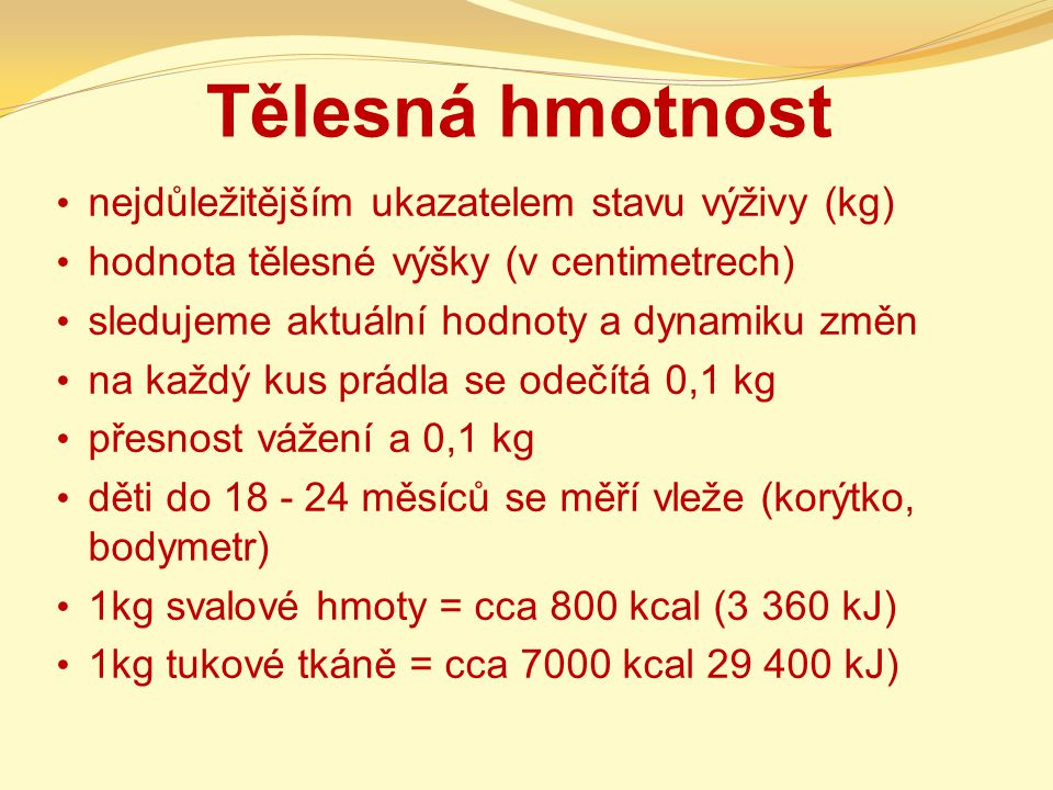 Tělesná hmotnost nejdůležitějším ukazatelem stavu výživy (kg)