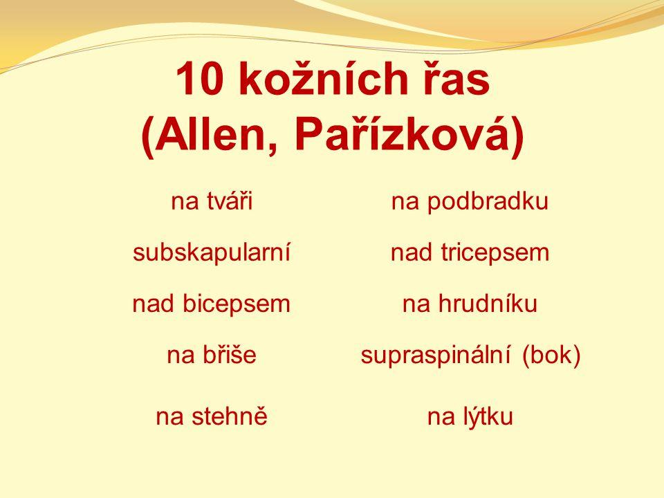10 kožních řas (Allen, Pařízková)