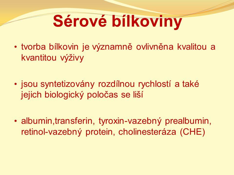 Sérové bílkoviny tvorba bílkovin je významně ovlivněna kvalitou a kvantitou výživy.