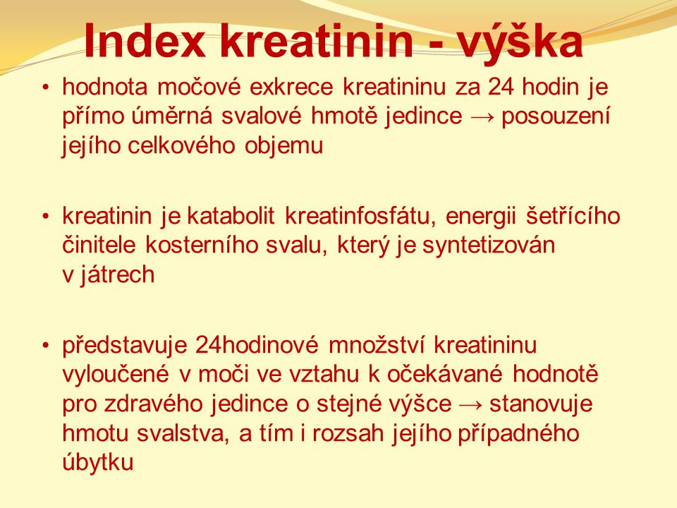Index kreatinin - výška