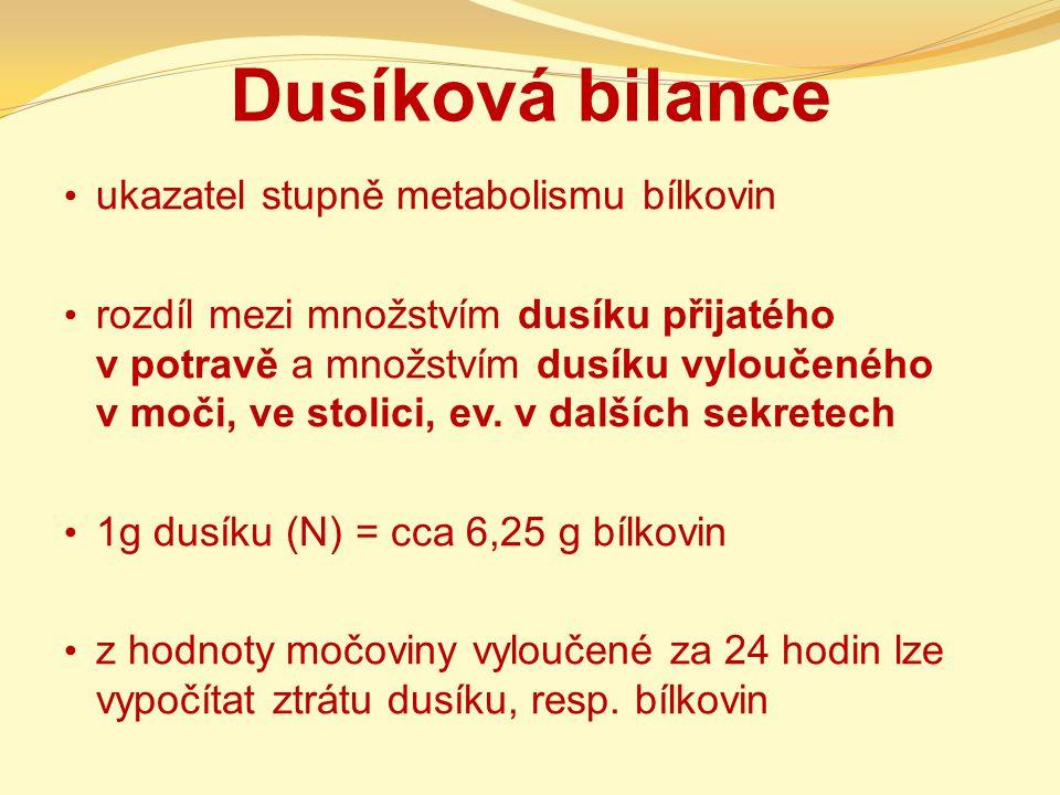 Dusíková bilance ukazatel stupně metabolismu bílkovin