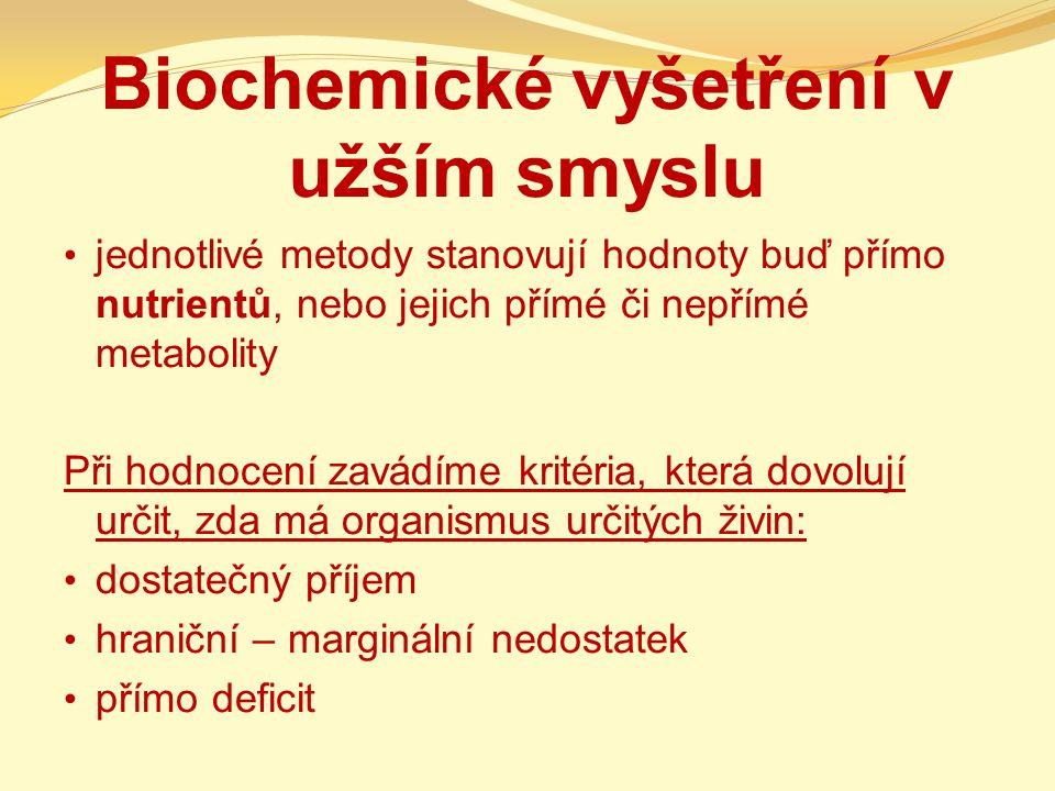 Biochemické vyšetření v užším smyslu
