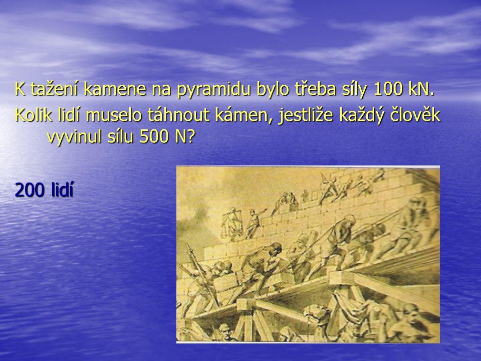 200 lidí K tažení kamene na pyramidu bylo třeba síly 100 kN.