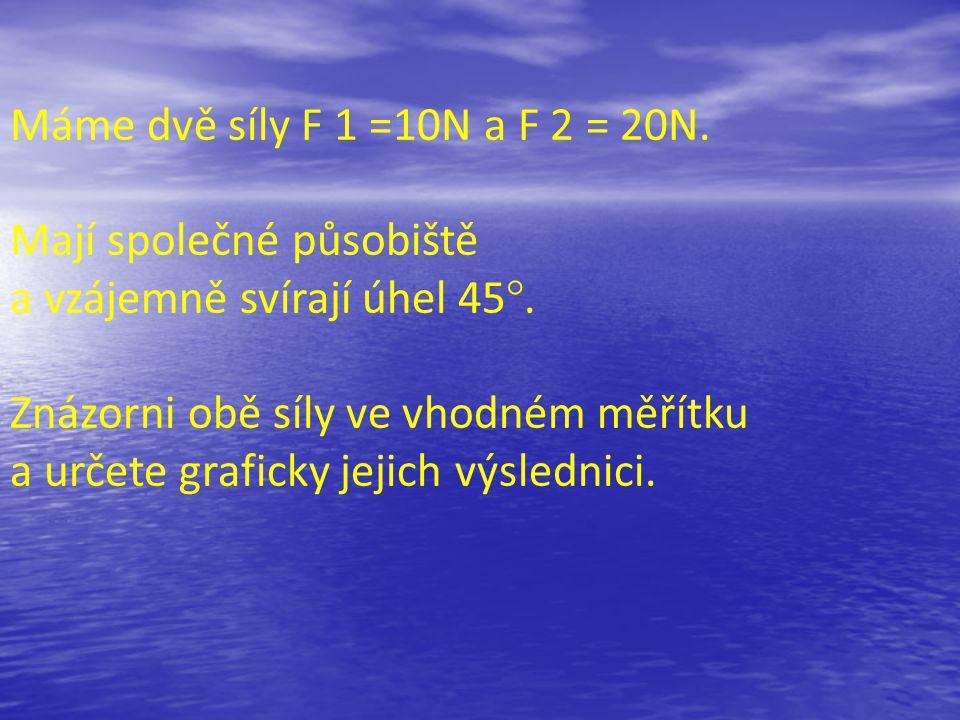 Máme dvě síly F 1 =10N a F 2 = 20N. Mají společné působiště a vzájemně svírají úhel 45°.