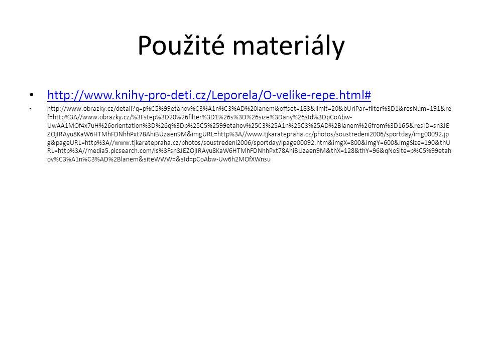 Použité materiály http://www.knihy-pro-deti.cz/Leporela/O-velike-repe.html#