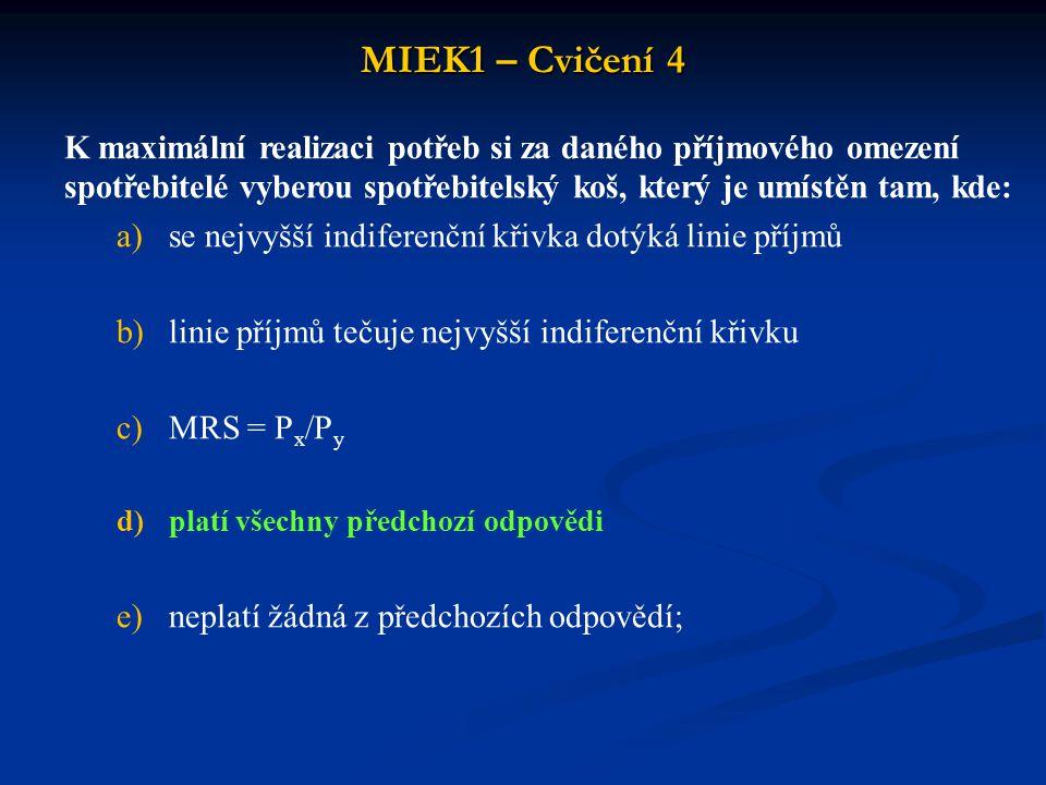 MIEK1 – Cvičení 4 K maximální realizaci potřeb si za daného příjmového omezení spotřebitelé vyberou spotřebitelský koš, který je umístěn tam, kde: