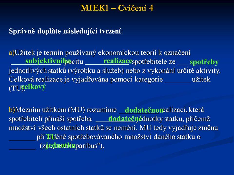 MIEK1 – Cvičení 4 subjektivního realizace spotřeby celkový dodatečnou