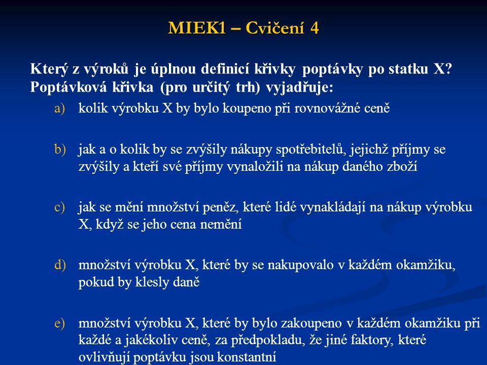 MIEK1 – Cvičení 4 Který z výroků je úplnou definicí křivky poptávky po statku X Poptávková křivka (pro určitý trh) vyjadřuje: