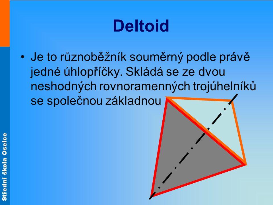 Deltoid Je to různoběžník souměrný podle právě jedné úhlopříčky.