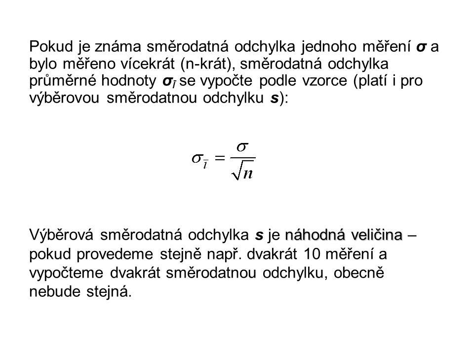Pokud je známa směrodatná odchylka jednoho měření σ a bylo měřeno vícekrát (n-krát), směrodatná odchylka průměrné hodnoty σĪ se vypočte podle vzorce (platí i pro výběrovou směrodatnou odchylku s):