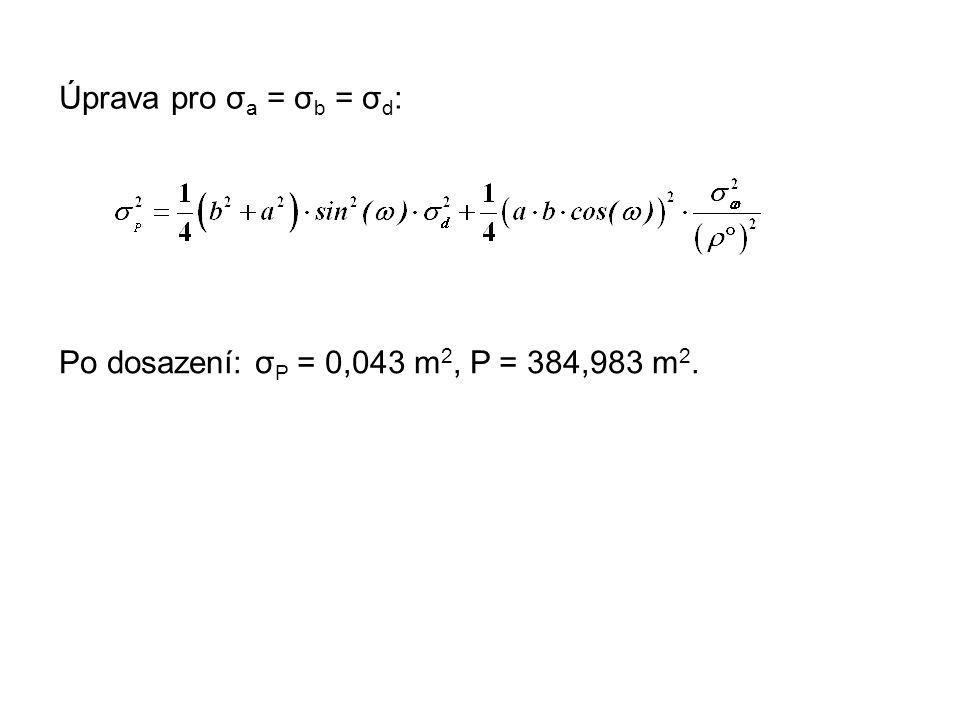 Úprava pro σa = σb = σd: Po dosazení: σP = 0,043 m2, P = 384,983 m2.