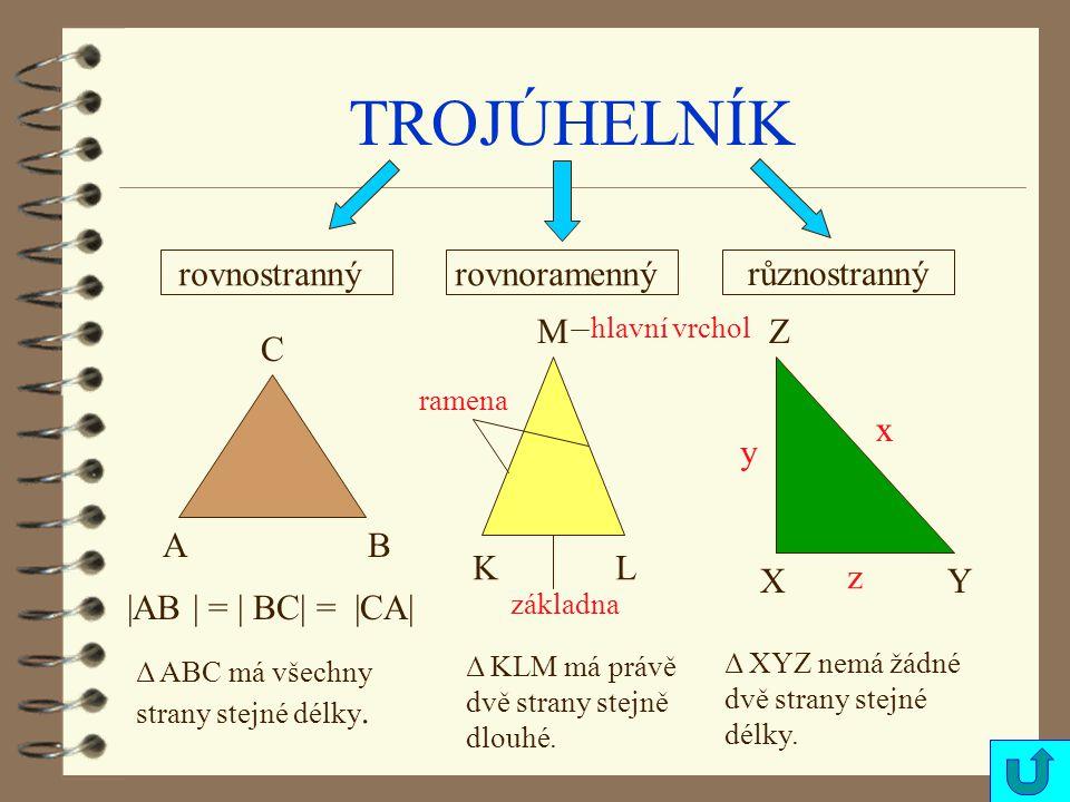 TROJÚHELNÍK rovnostranný rovnoramenný různostranný M Z C x y A B K L X