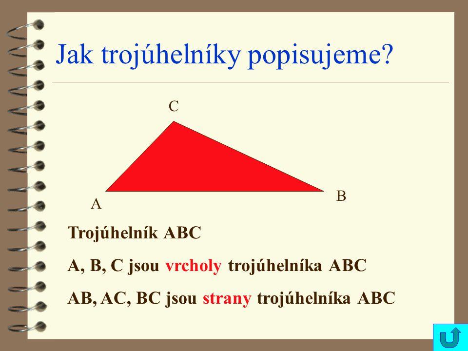 Jak trojúhelníky popisujeme