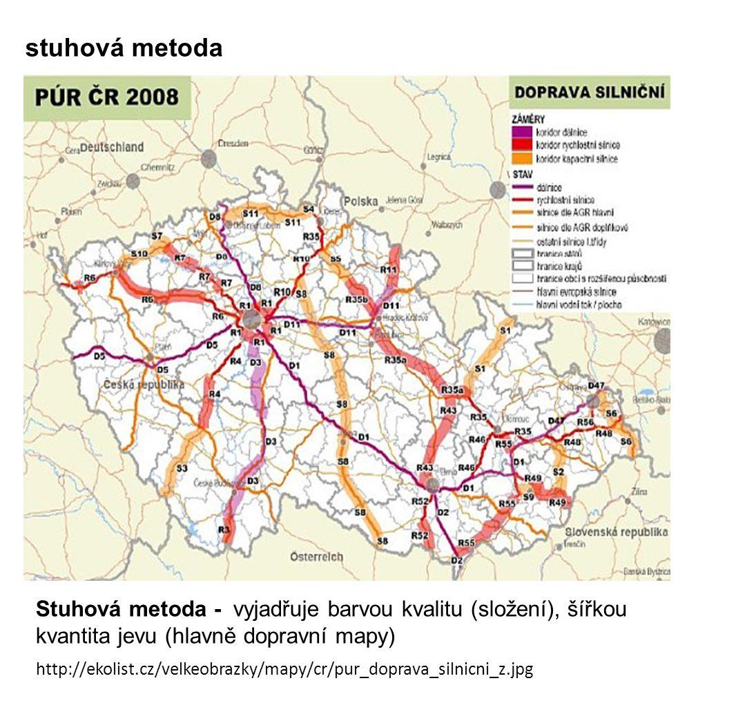 stuhová metoda Stuhová metoda - vyjadřuje barvou kvalitu (složení), šířkou kvantita jevu (hlavně dopravní mapy)