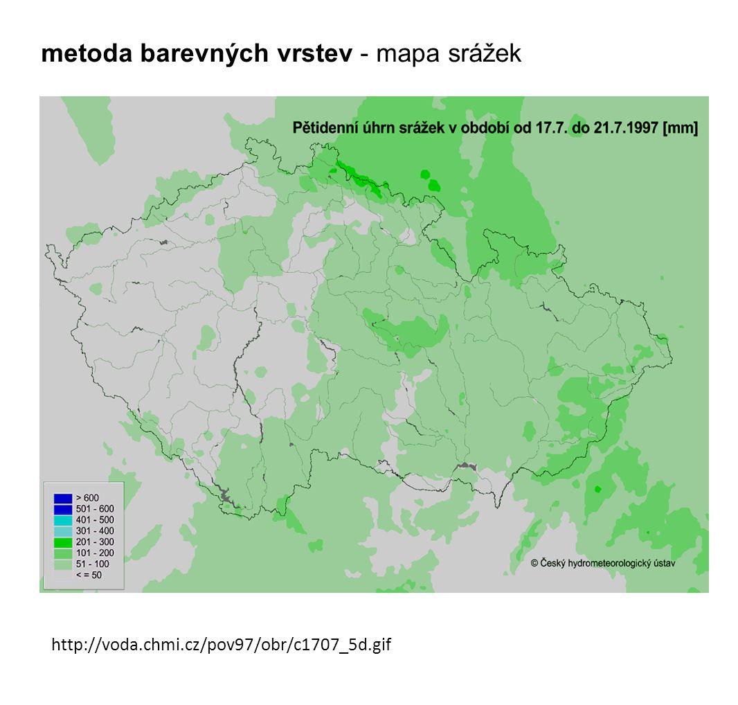 metoda barevných vrstev - mapa srážek