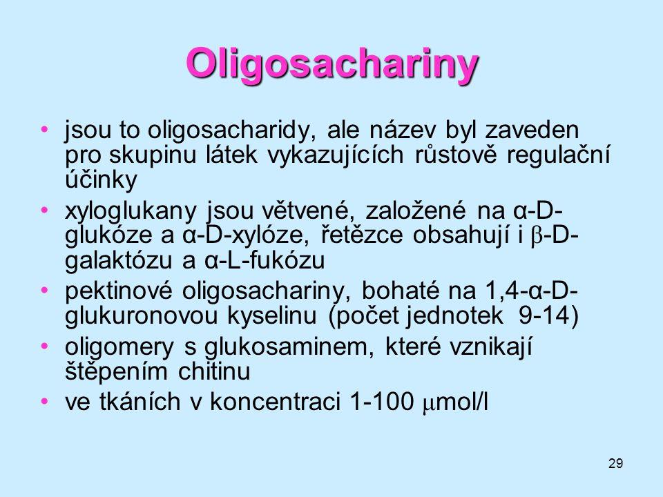 Oligosachariny jsou to oligosacharidy, ale název byl zaveden pro skupinu látek vykazujících růstově regulační účinky.