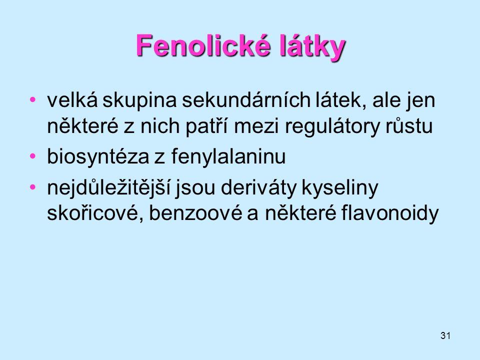 Fenolické látky velká skupina sekundárních látek, ale jen některé z nich patří mezi regulátory růstu.