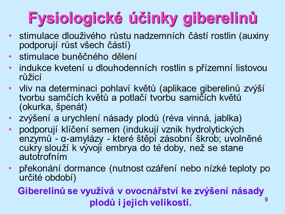 Fysiologické účinky giberelinů