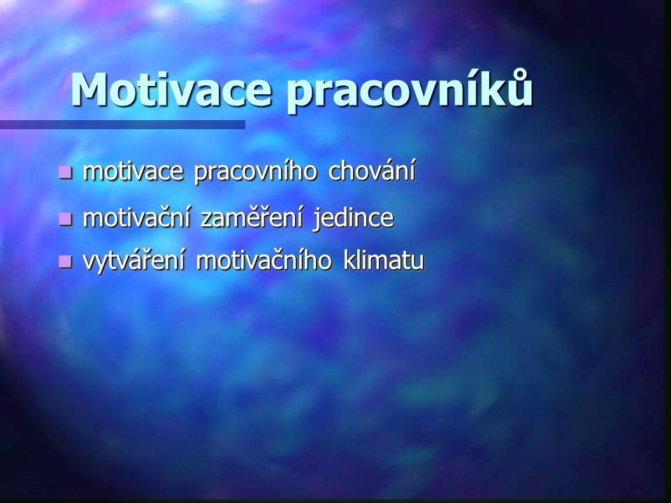Motivace pracovníků motivace pracovního chování