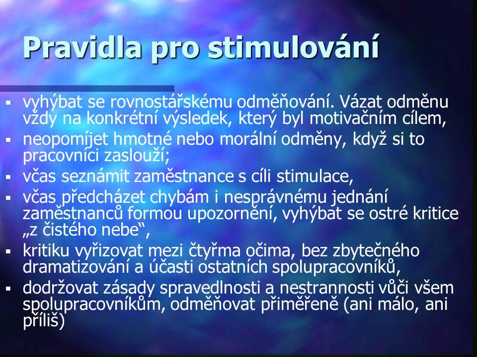 Pravidla pro stimulování