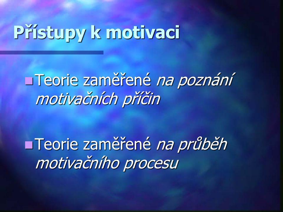 Přístupy k motivaci Teorie zaměřené na poznání motivačních příčin