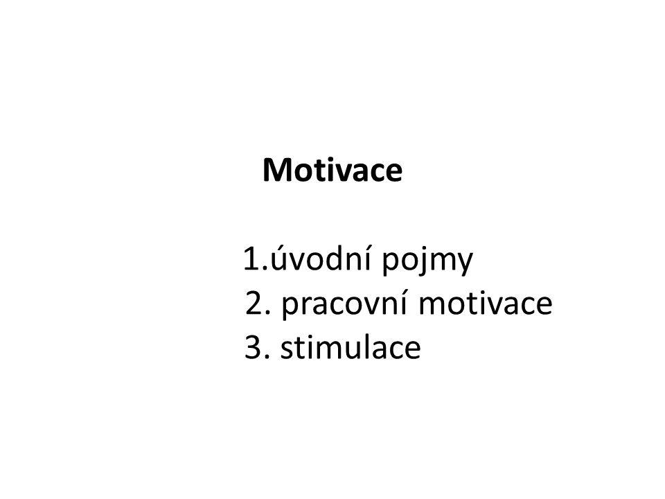 Motivace 1.úvodní pojmy 2. pracovní motivace 3. stimulace