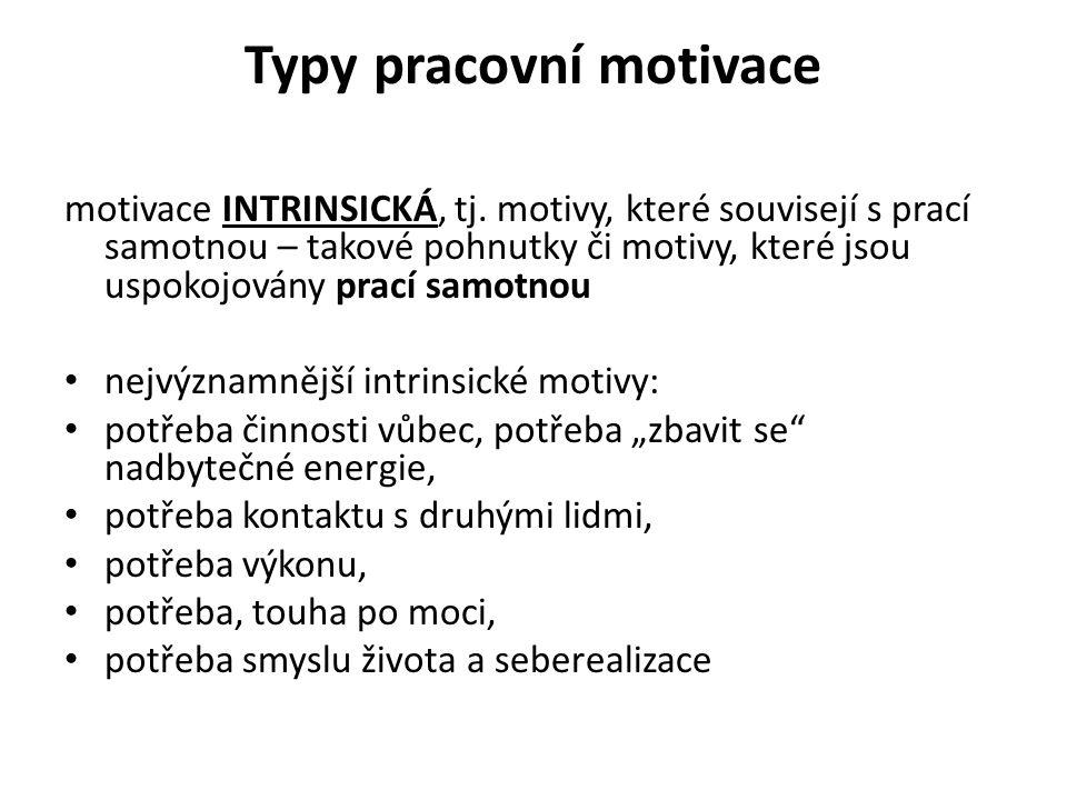 Typy pracovní motivace