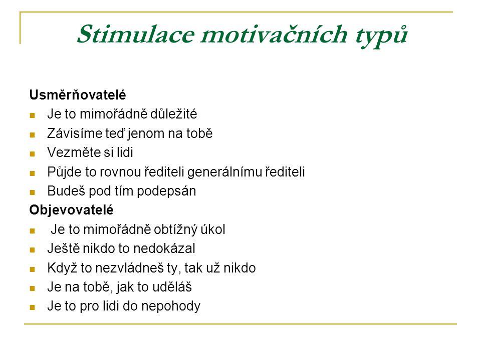 Stimulace motivačních typů