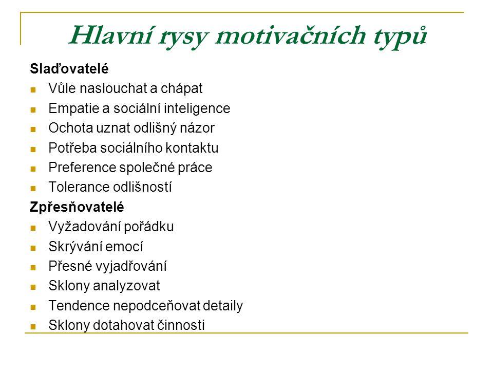 Hlavní rysy motivačních typů