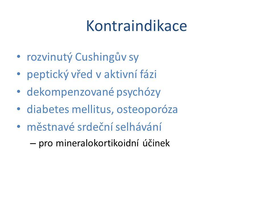 Kontraindikace rozvinutý Cushingův sy peptický vřed v aktivní fázi