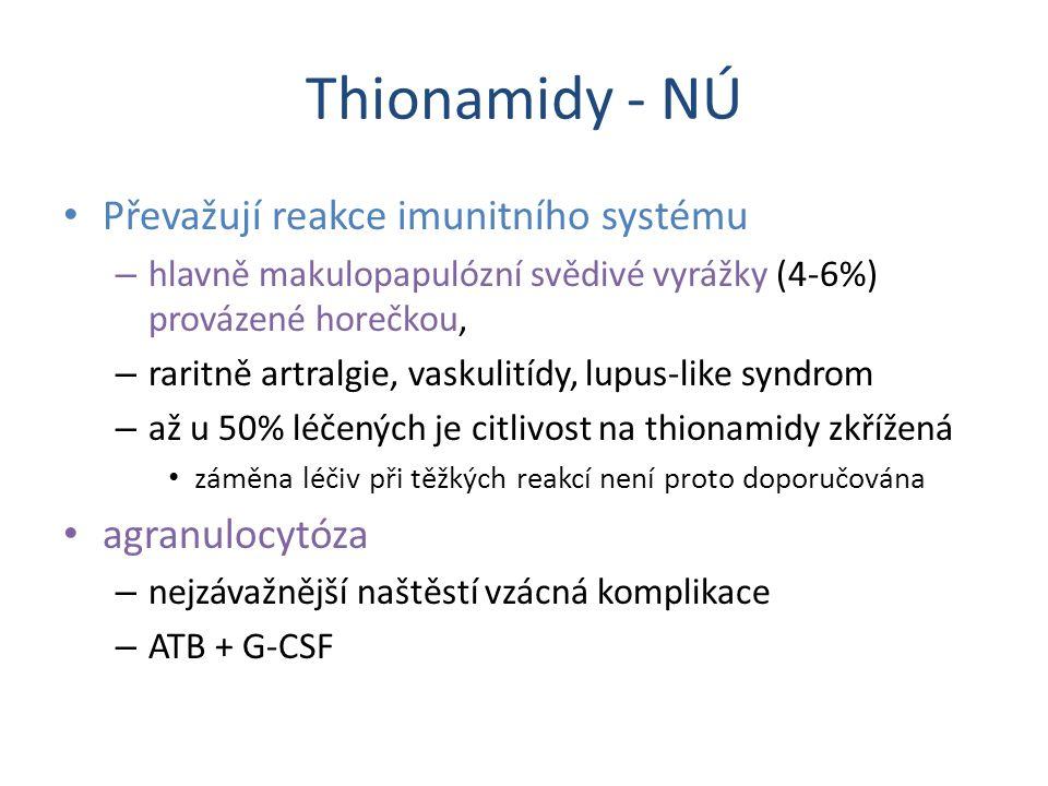 Thionamidy - NÚ Převažují reakce imunitního systému agranulocytóza