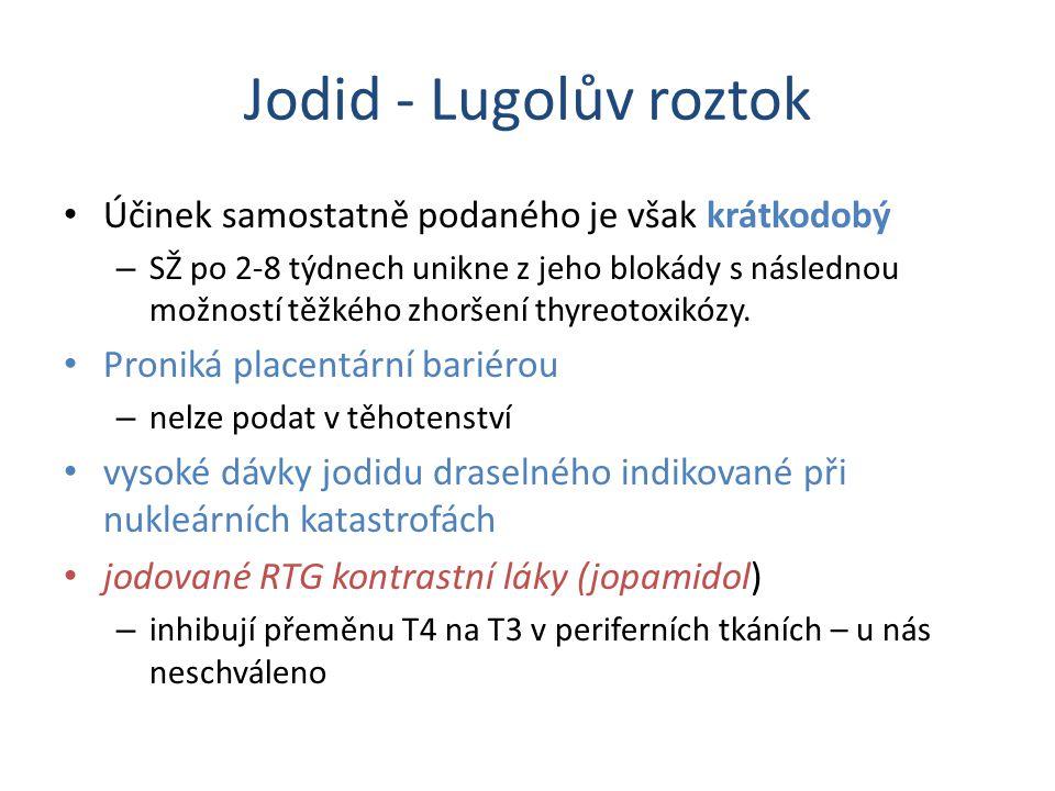 Jodid - Lugolův roztok Účinek samostatně podaného je však krátkodobý