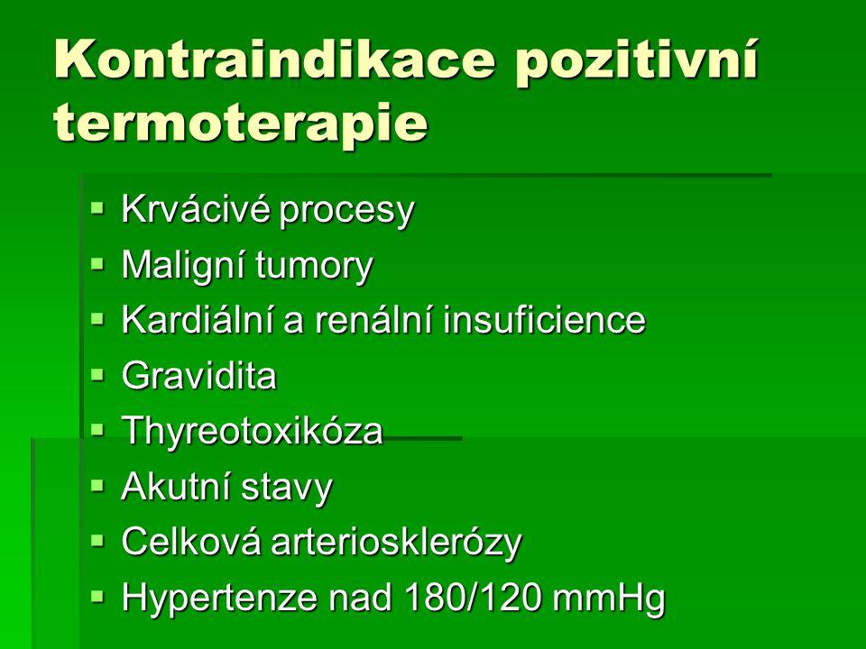Kontraindikace pozitivní termoterapie