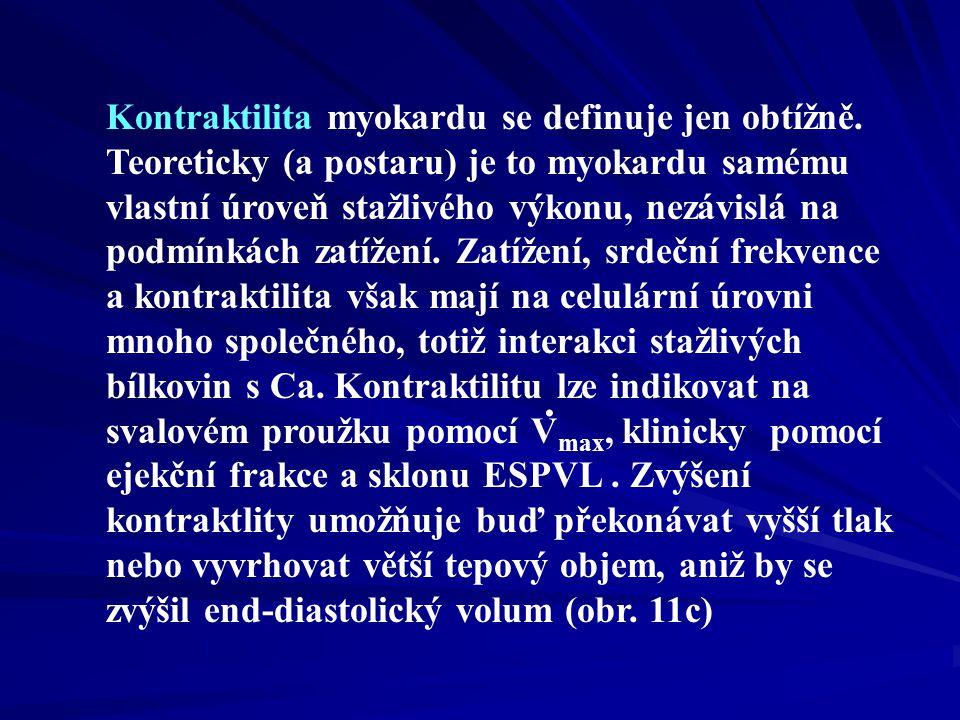 Kontraktilita myokardu se definuje jen obtížně