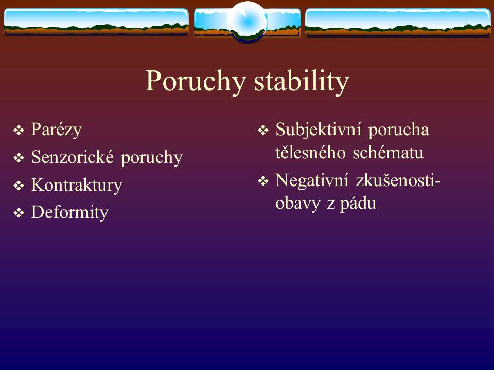 Poruchy stability Parézy Senzorické poruchy Kontraktury Deformity