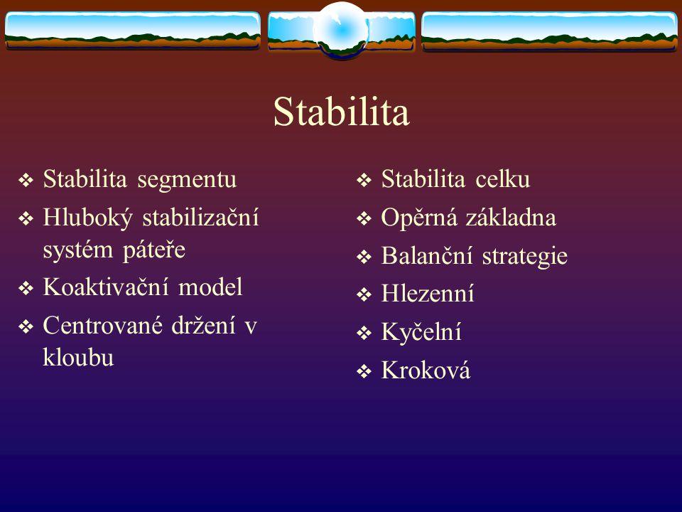Stabilita Stabilita segmentu Hluboký stabilizační systém páteře