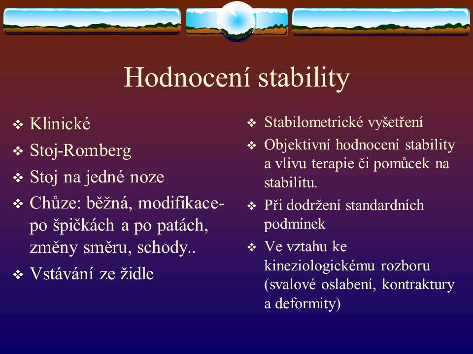 Hodnocení stability Klinické Stoj-Romberg Stoj na jedné noze