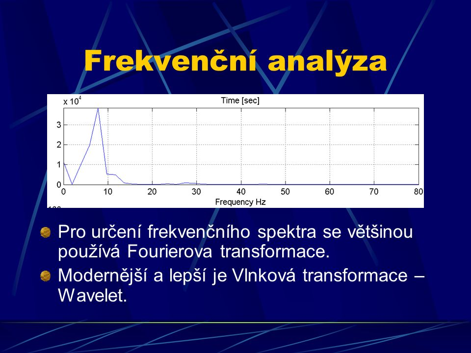 Frekvenční analýza Pro určení frekvenčního spektra se většinou používá Fourierova transformace.