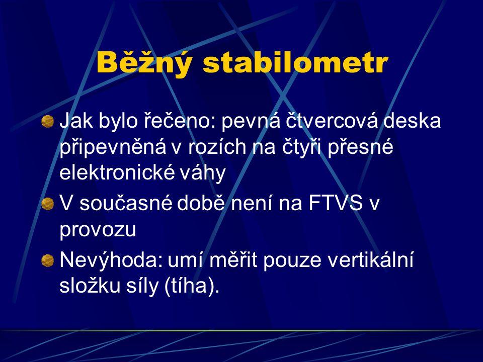 Běžný stabilometr Jak bylo řečeno: pevná čtvercová deska připevněná v rozích na čtyři přesné elektronické váhy.