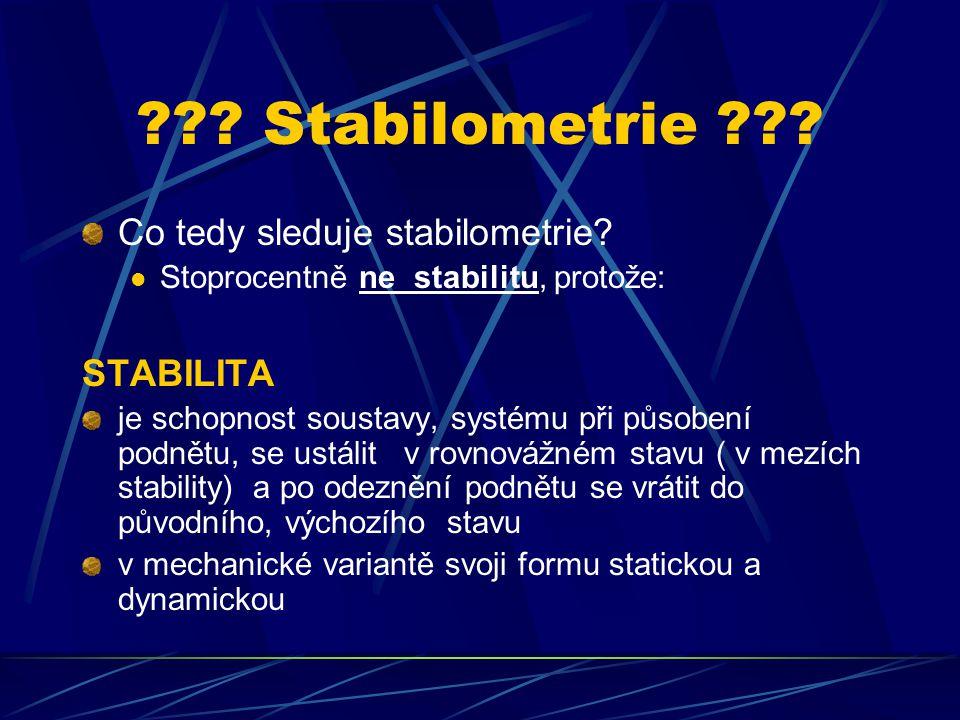 Stabilometrie Co tedy sleduje stabilometrie STABILITA
