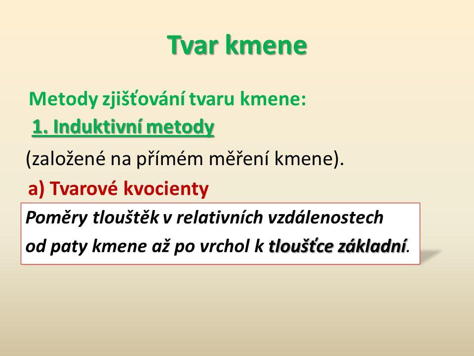 Tvar kmene Metody zjišťování tvaru kmene: 1. Induktivní metody