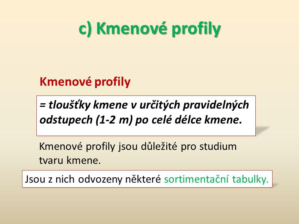 c) Kmenové profily Kmenové profily
